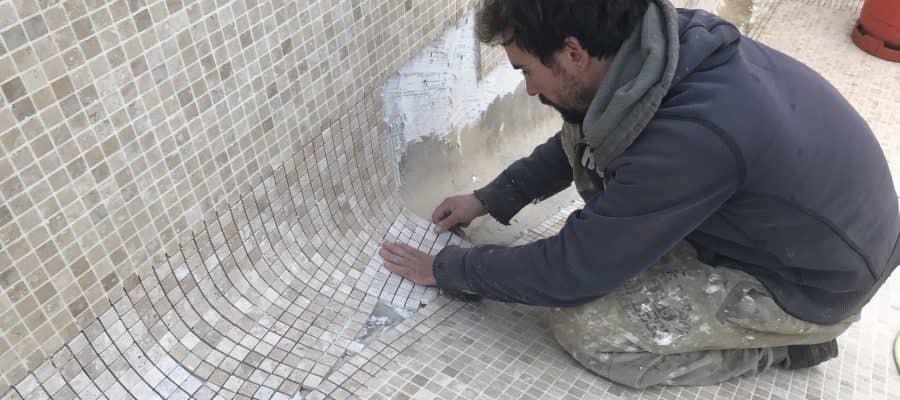 Fitting new travertine mosaic stone tiles