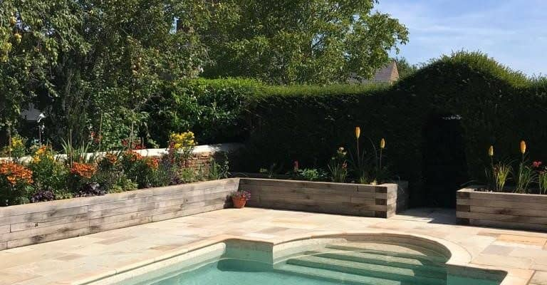 Mosaic pool complete with bull nose edge copings
